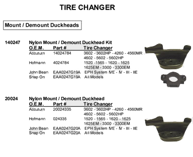 Tire changer adapter accessories