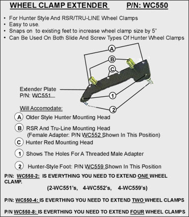 Wheel clamp extender adapter accessories